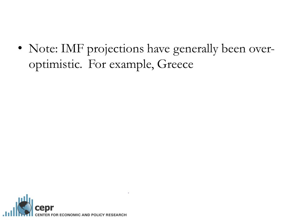 Note: IMF projections have generally been over- optimistic. For example, Greece