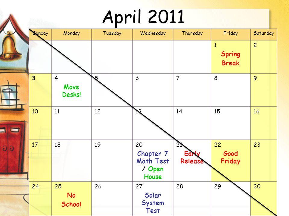 April 2011 SundayMondayTuesdayWednesdayThursdayFridaySaturday 1 Spring Break 2 34 Move Desks.