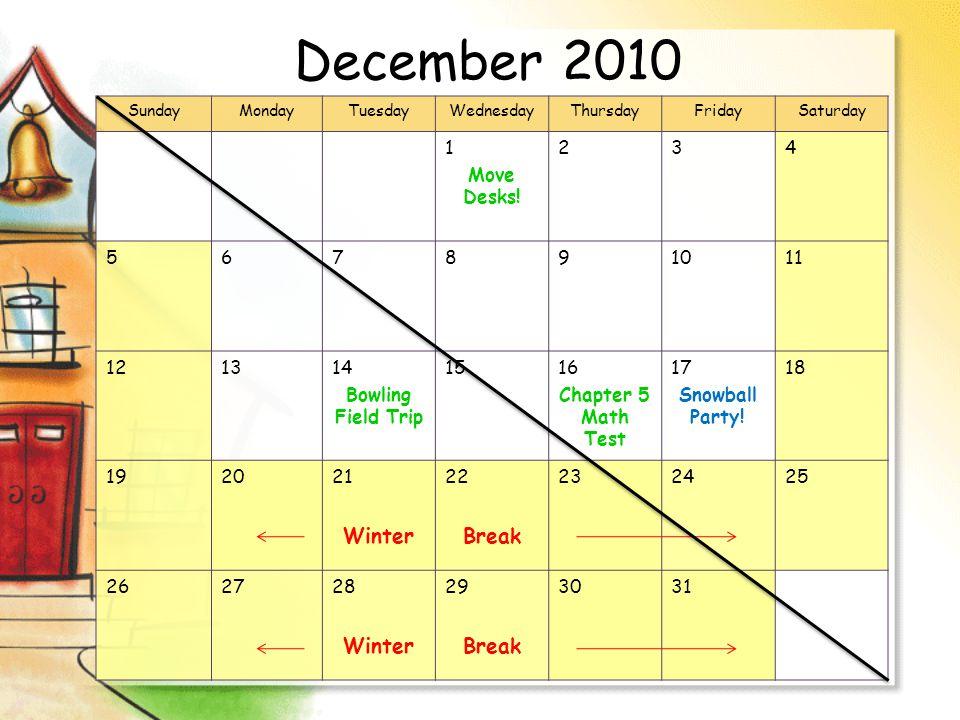 December 2010 SundayMondayTuesdayWednesdayThursdayFridaySaturday 1 Move Desks.