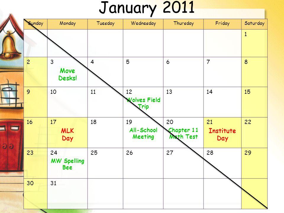 January 2011 SundayMondayTuesdayWednesdayThursdayFridaySaturday 1 23 Move Desks.