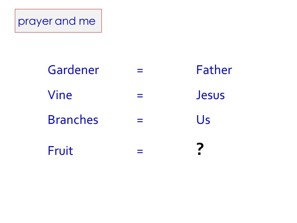 prayer and me Gardener=Father Vine= Jesus Branches=Us Fruit= ?