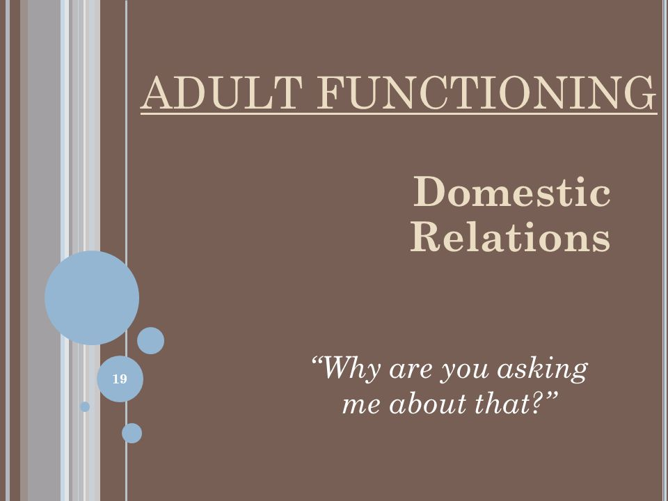Domestic Relations Why are you asking me about that ADULT FUNCTIONING 19