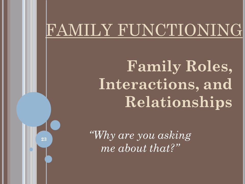 Family Roles, Interactions, and Relationships Why are you asking me about that FAMILY FUNCTIONING 23