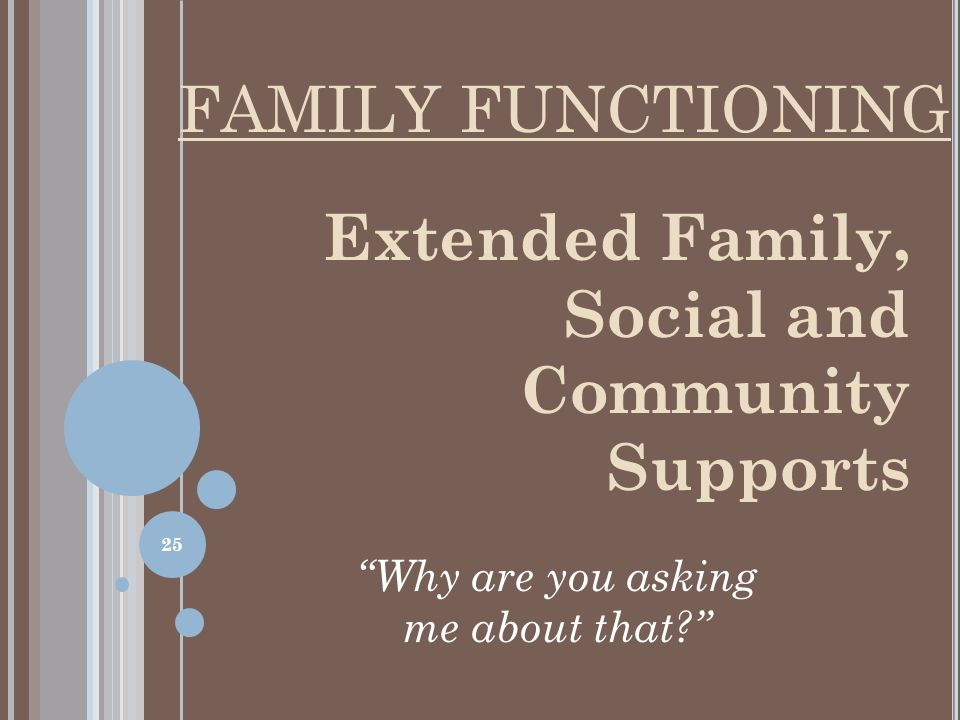 Extended Family, Social and Community Supports Why are you asking me about that? FAMILY FUNCTIONING 25