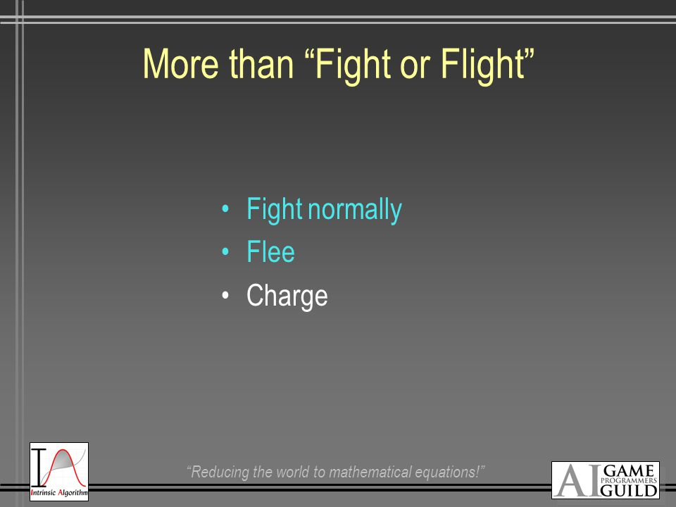 """Reducing the world to mathematical equations!"" More than ""Fight or Flight"" Fight normally Flee Charge"