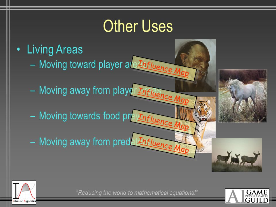 Reducing the world to mathematical equations! Other Uses Living Areas –Moving toward player areas –Moving away from player areas –Moving towards food prey –Moving away from predators Influence Map