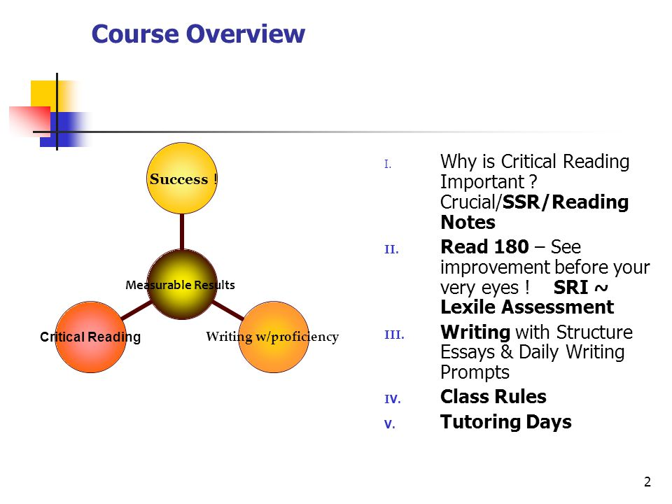 2 Course Overview I. Why is Critical Reading Important ? Crucial/SSR/Reading Notes II. Read 180 – See improvement before your very eyes ! SRI ~ Lexile