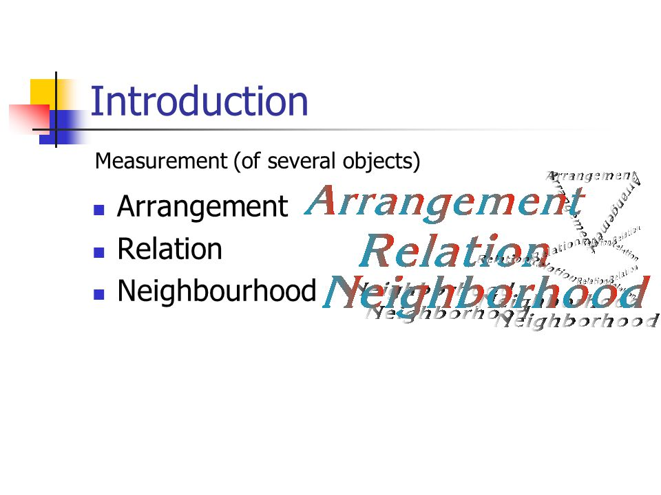 Introduction Arrangement Relation Neighbourhood Measurement (of several objects)