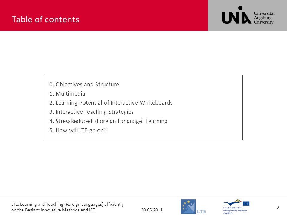 LTE. Learning and Teaching (Foreign Languages) Efficiently on the Basis of Innovative Methods and ICT. 30.05.2011 2 toc000 Table of contents 0. Object
