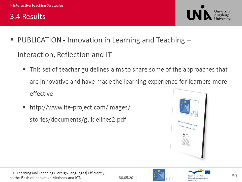 LTE. Learning and Teaching (Foreign Languages) Efficiently on the Basis of Innovative Methods and ICT. 30.05.2011 30 360 > Interactive Teaching Strate
