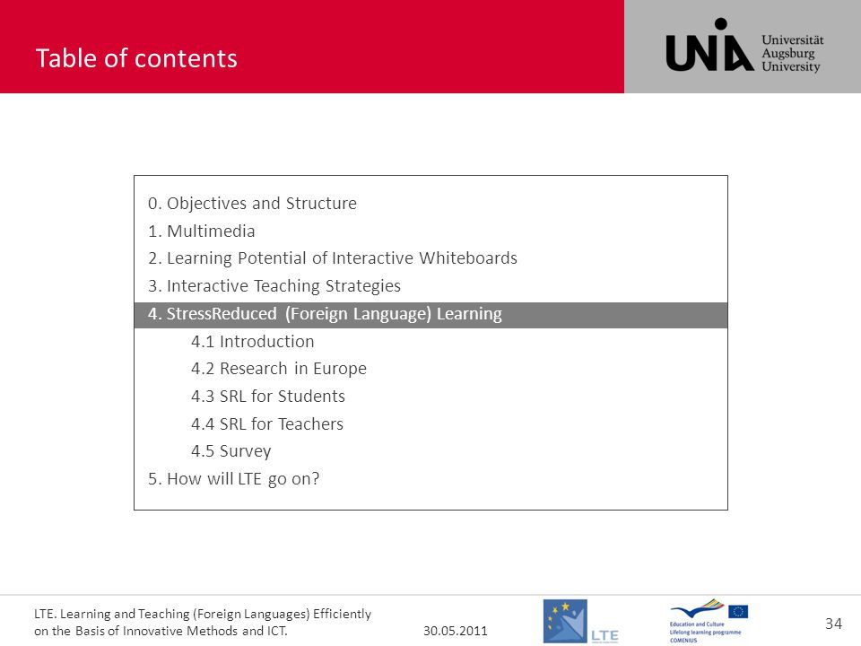 LTE. Learning and Teaching (Foreign Languages) Efficiently on the Basis of Innovative Methods and ICT. 30.05.2011 34 toc400+400 Table of contents 0. O