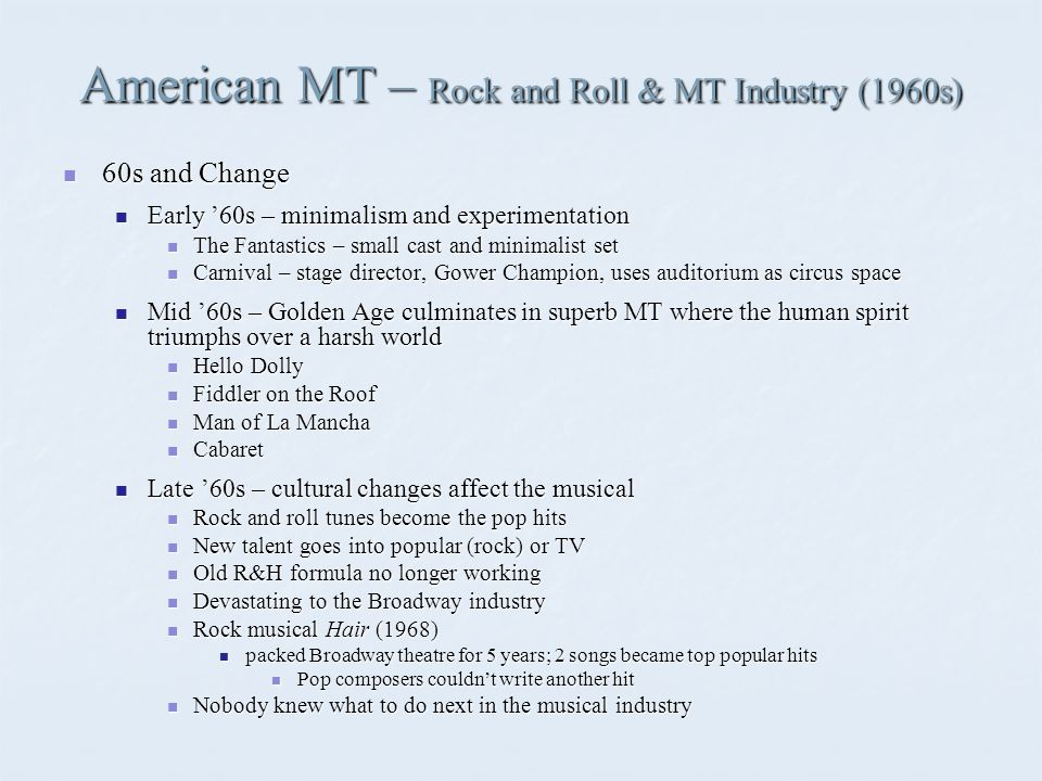 American MT – Concept Musicals (1970s) Early 70s - 3-way competition for the direction of musicals: 1) Rock, 2) R&H formula 3) Concept Early 70s - 3-way competition for the direction of musicals: 1) Rock, 2) R&H formula 3) Concept Concept Musicals – shows built around an idea rather than a traditional plot Concept Musicals – shows built around an idea rather than a traditional plot Introduced by Stephen Sondheim (composer/lyricist) and Hal Prince (director) Introduced by Stephen Sondheim (composer/lyricist) and Hal Prince (director) Company (1970) – single life vs.