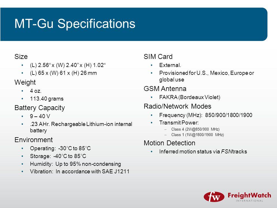 MT-Gu Specifications Size (L) 2.56 x (W) 2.40 x (H) 1.02 (L) 65 x (W) 61 x (H) 26 mm Weight 4 oz.