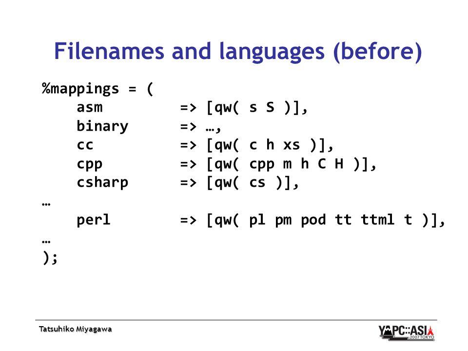 Tatsuhiko Miyagawa Filenames and languages (before) %mappings = ( asm => [qw( s S )], binary => …, cc => [qw( c h xs )], cpp => [qw( cpp m h C H )], csharp => [qw( cs )], … perl => [qw( pl pm pod tt ttml t )], … );