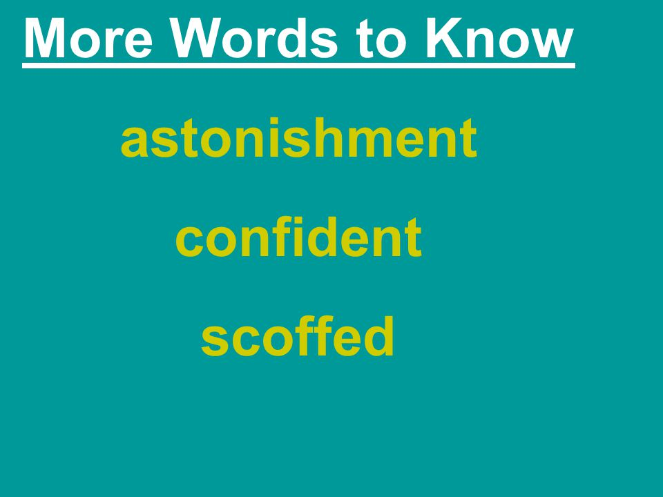 More Words to Know astonishment confident scoffed
