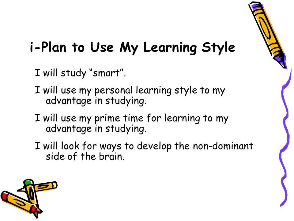 i-Plan to Use My Learning Style I will study smart .