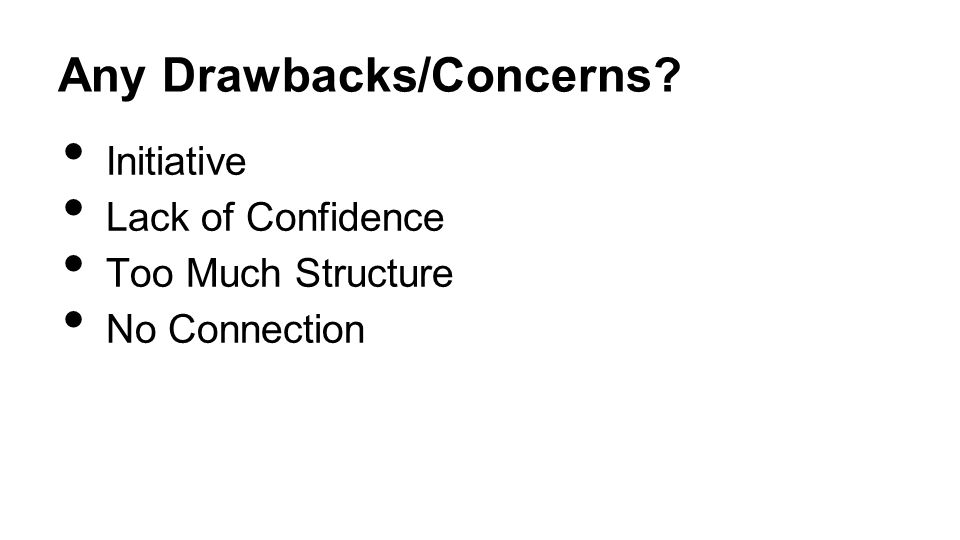 Any Drawbacks/Concerns Initiative Lack of Confidence Too Much Structure No Connection