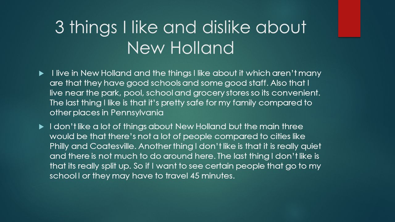 3 things I like and dislike about New Holland  I live in New Holland and the things I like about it which aren't many are that they have good schools and some good staff.