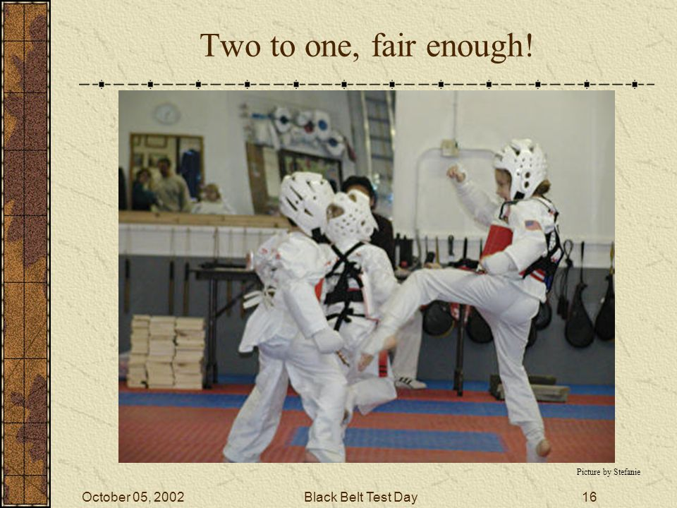 October 05, 2002Black Belt Test Day15 One to One Picture from Master Park