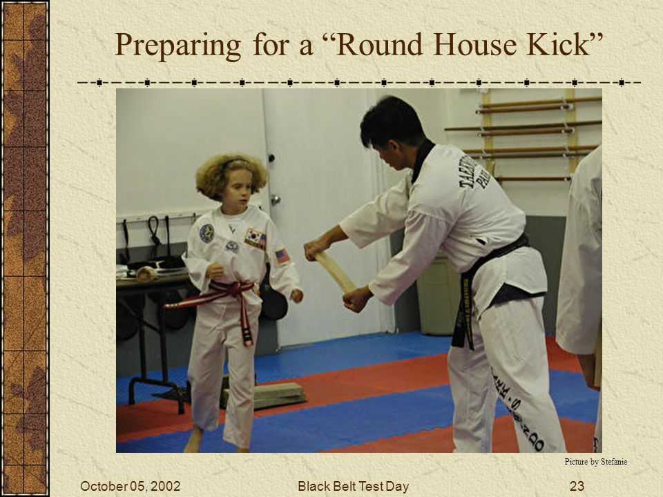 October 05, 2002Black Belt Test Day22 Left Snap Kick Picture by Stefanie
