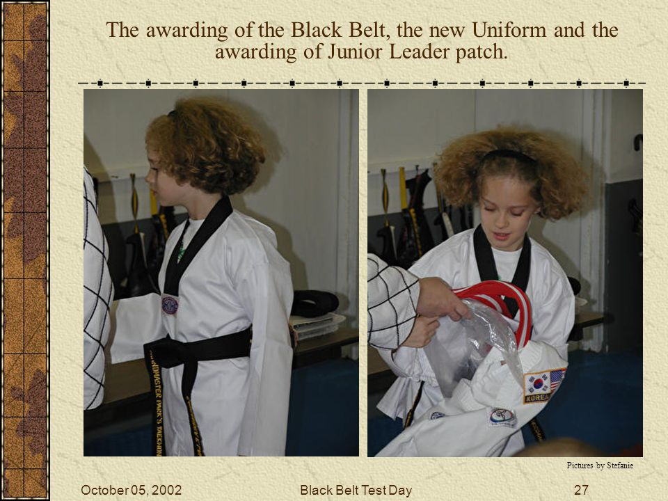 October 05, 2002Black Belt Test Day26 The testers were brought in formation before Cassandra.