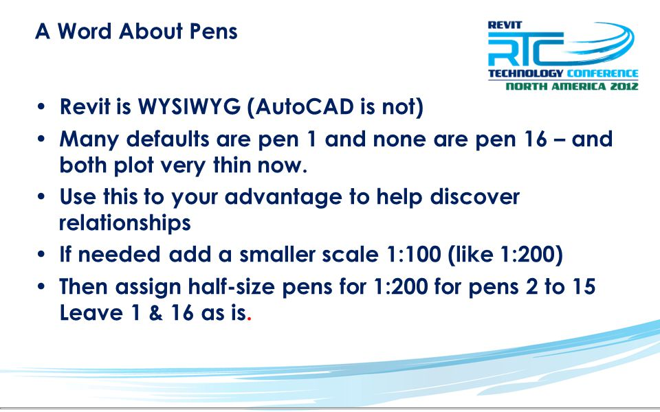 A Word About Pens Revit is WYSIWYG (AutoCAD is not) Many defaults are pen 1 and none are pen 16 – and both plot very thin now.