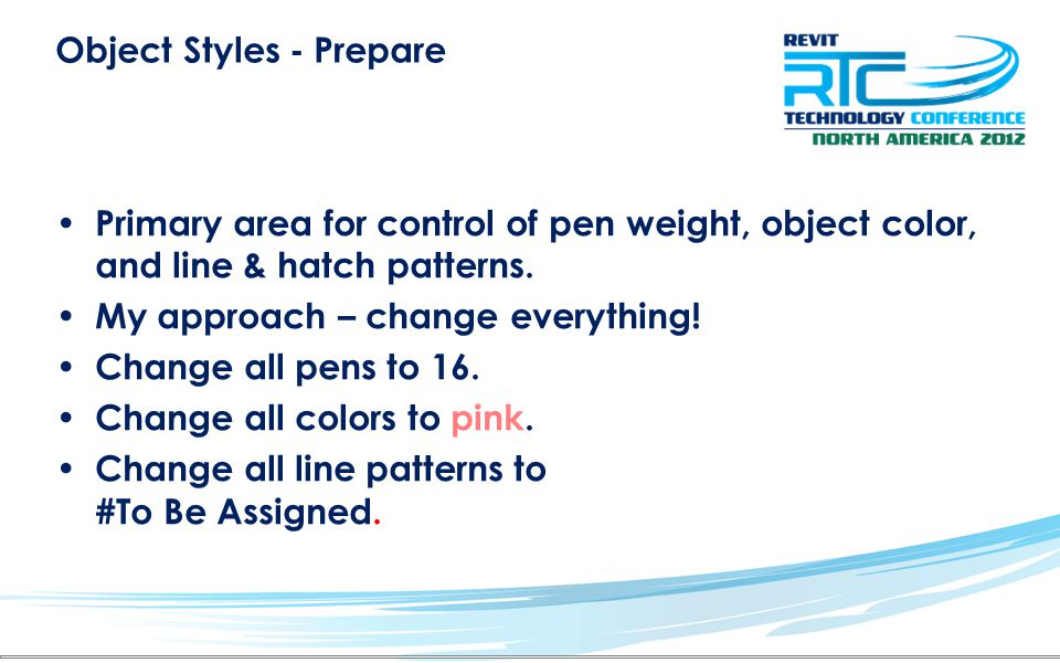 Object Styles - Prepare Primary area for control of pen weight, object color, and line & hatch patterns.