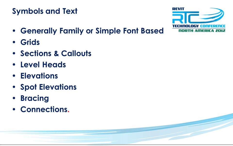 Symbols and Text Generally Family or Simple Font Based Grids Sections & Callouts Level Heads Elevations Spot Elevations Bracing Connections.
