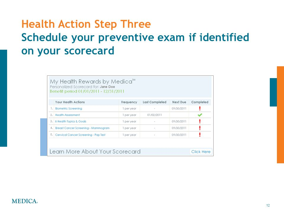 12 Health Action Step Three Schedule your preventive exam if identified on your scorecard