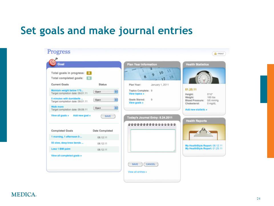 24 © 2010 Medica24 Health & Wellness Center Set goals and make journal entries