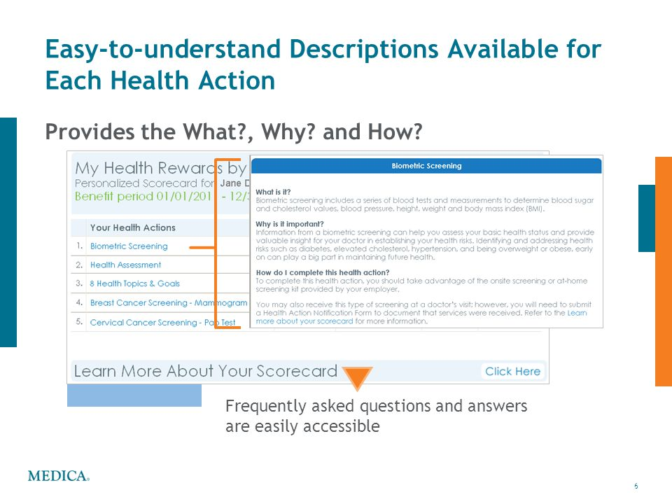 6 © 2011 Medica6 Easy-to-understand Descriptions Available for Each Health Action Provides the What?, Why? and How? Frequently asked questions and ans