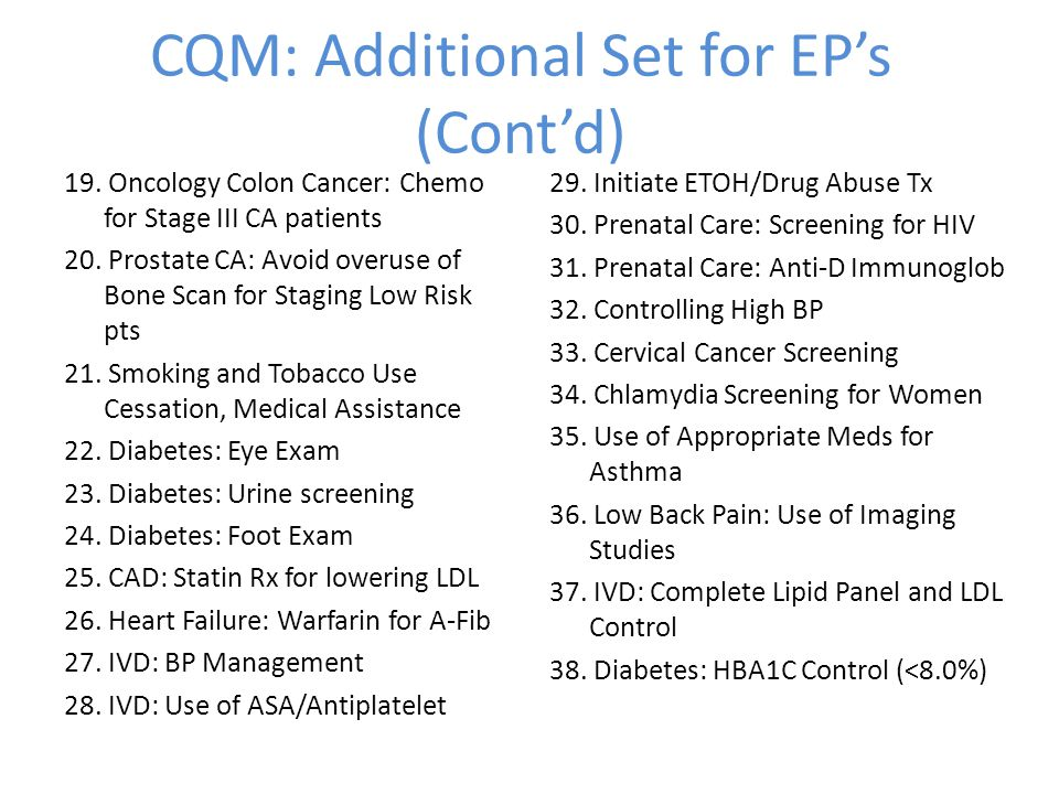 CQM: Additional Set for EP's (Cont'd) 19.