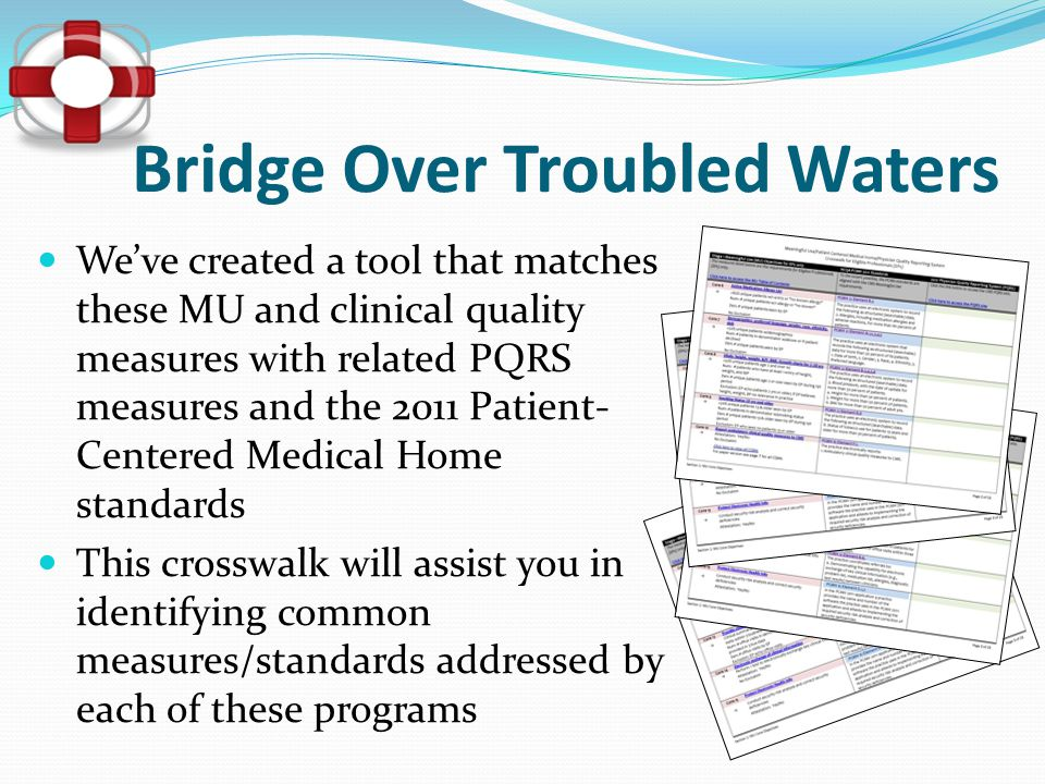 Bridge Over Troubled Waters We've created a tool that matches these MU and clinical quality measures with related PQRS measures and the 2011 Patient-