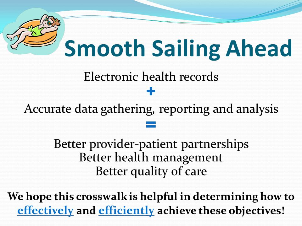 Smooth Sailing Ahead Electronic health records + Accurate data gathering, reporting and analysis = Better provider-patient partnerships Better health