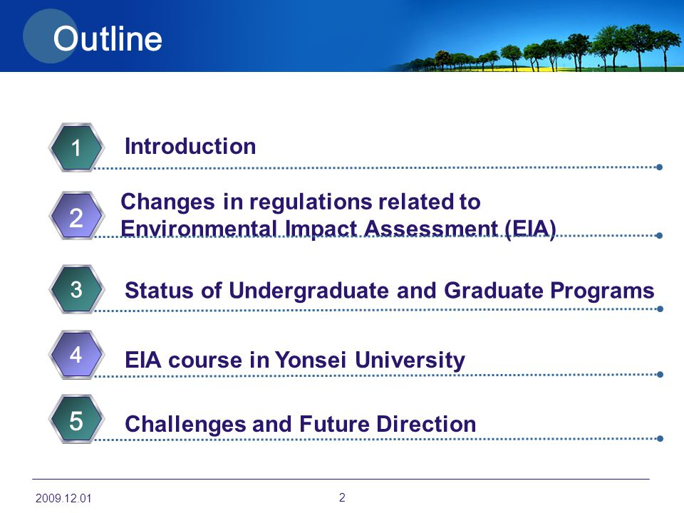 Outline Introduction 1 Changes in regulations related to Environmental Impact Assessment (EIA) 2 EIA course in Yonsei University 4 Challenges and Futu
