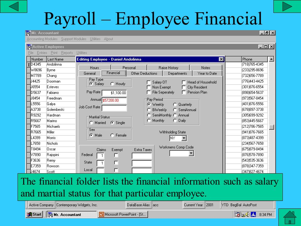 Payroll – Employee Editor From the file menu you can edit an employee and customize all settings for that particular employee.