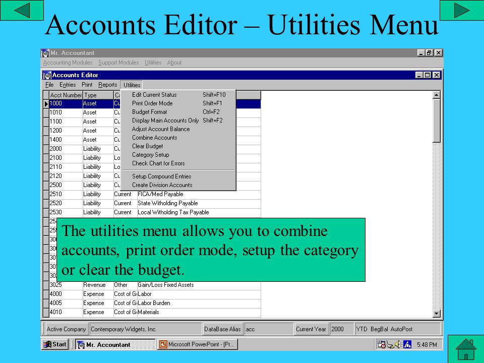 Accounts Editor – Report Menu From the reports menu you can get a year to date ledger or a ledger for a selected period of time.