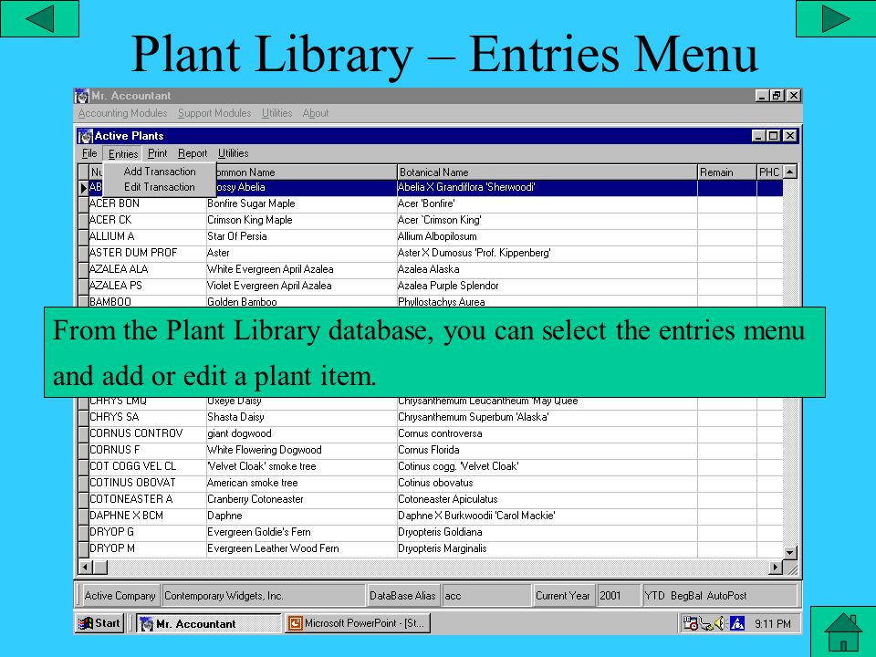 Plant Library – Plant File From the Plant Library database, you can select the file menu and select a specific list of plants.