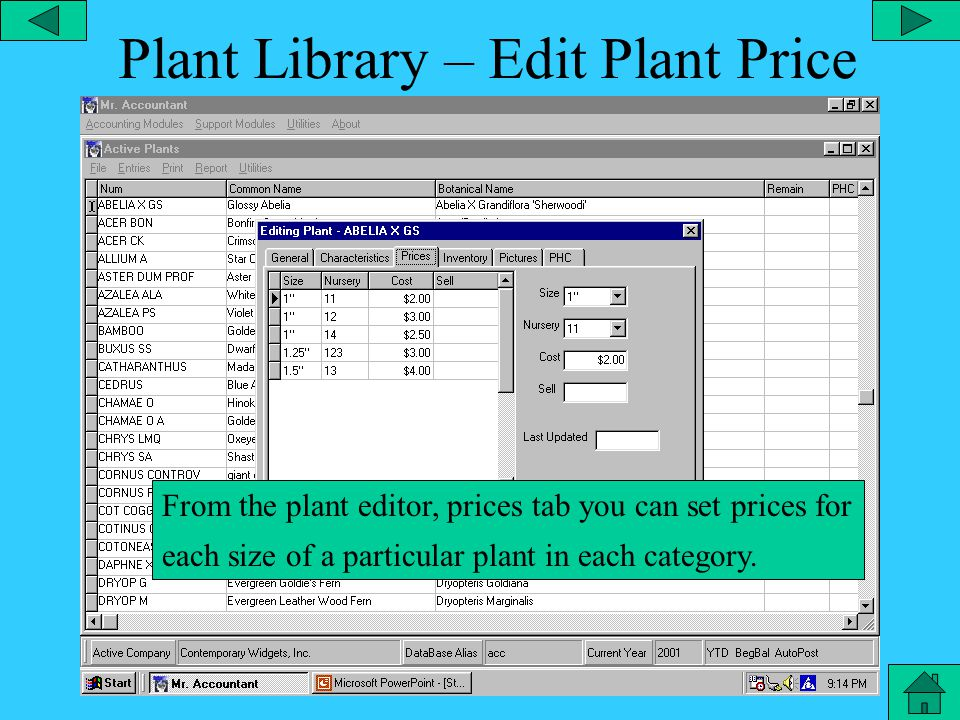 Plant Library – Plant Item From the plant editor, characteristics tab, you can add the category, type, container size, light sensitivity, moisture and flowering month.
