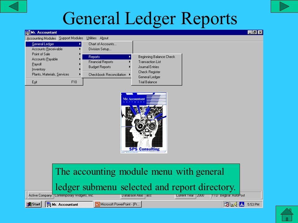 A/R Customer Menu The accounting module menu with account receivable sub-menu selected.