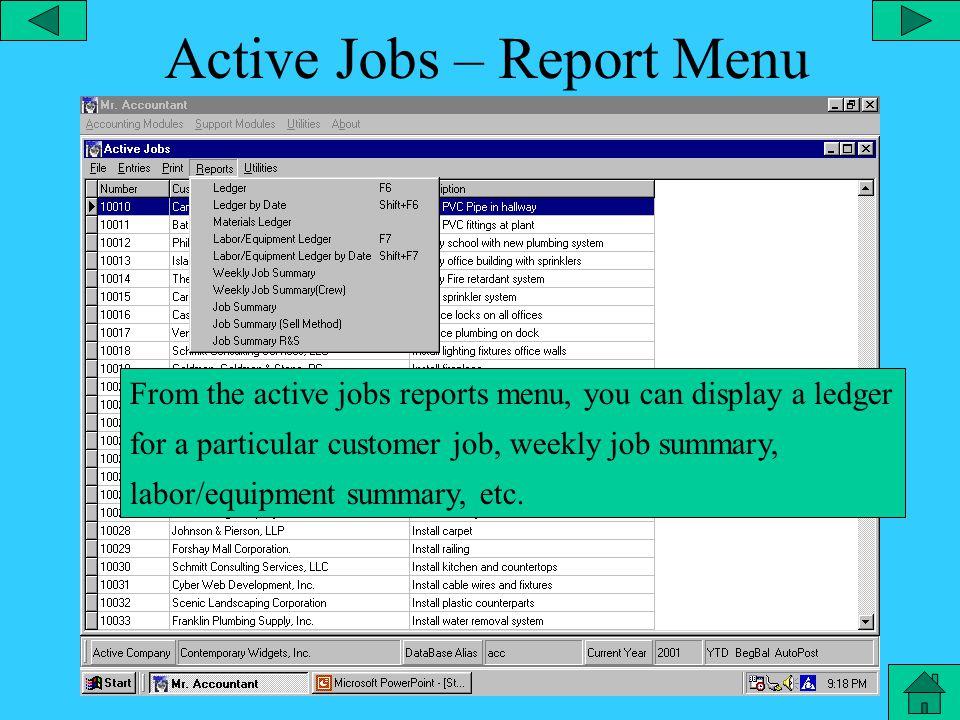 Customer Jobs – Print Menu From the customer jobs print menu you can print the job list.
