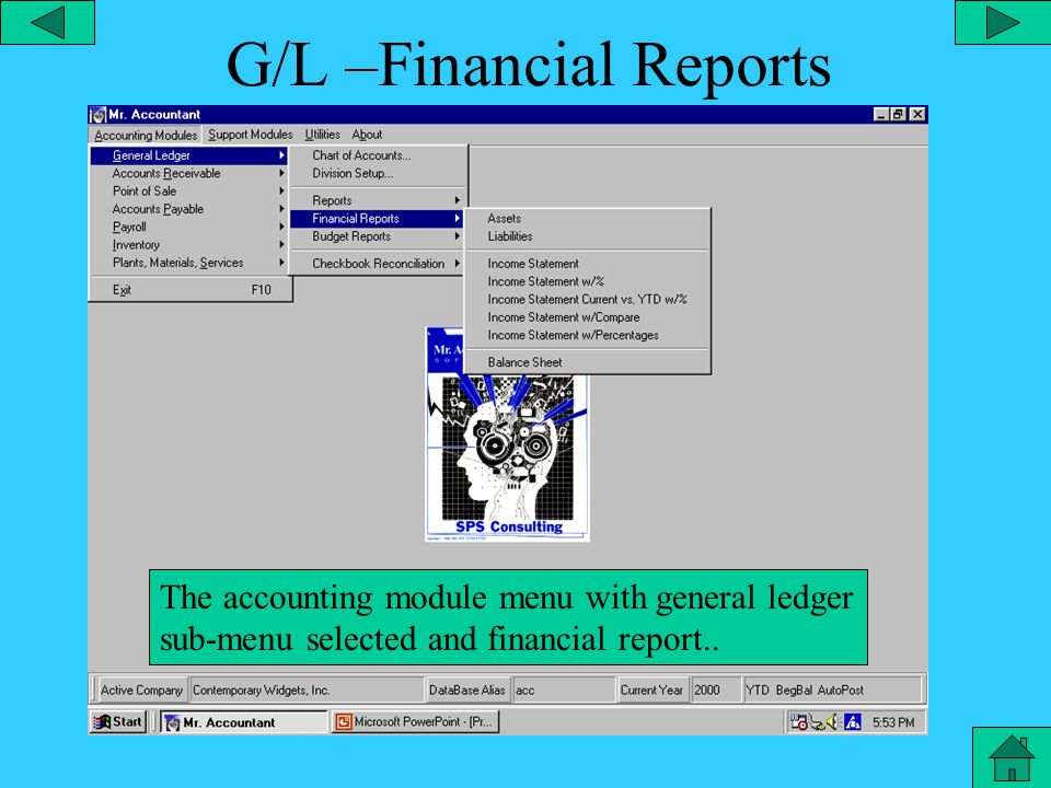 General Ledger Reports The accounting module menu with general ledger submenu selected and report directory.