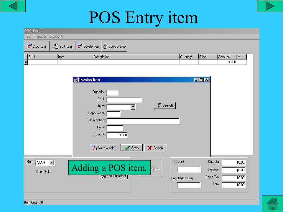 Point of Sale – Drawer Count From the point of sale main menu, you can perform a Point of Sale Drawer count to count the amount of cash that should be in the draw.