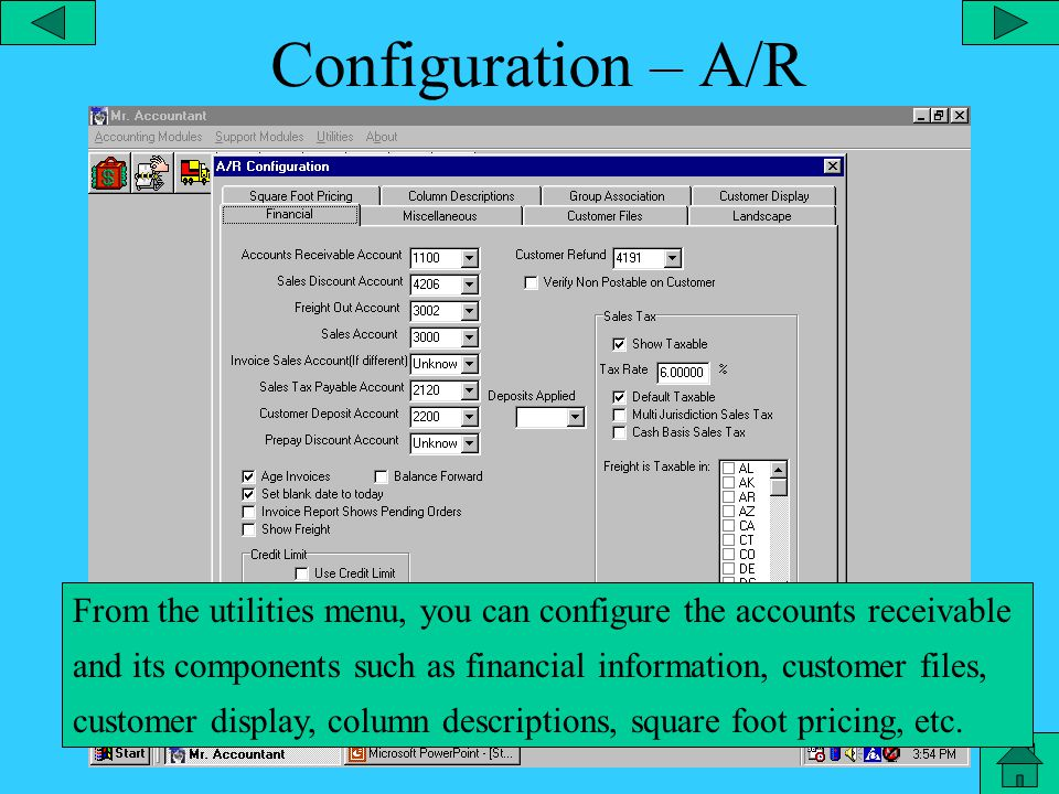 Configuration – General Leger From the utilities menu, you can configure the General Ledger and its components, such as lock entries, allow post dated entries, etc.