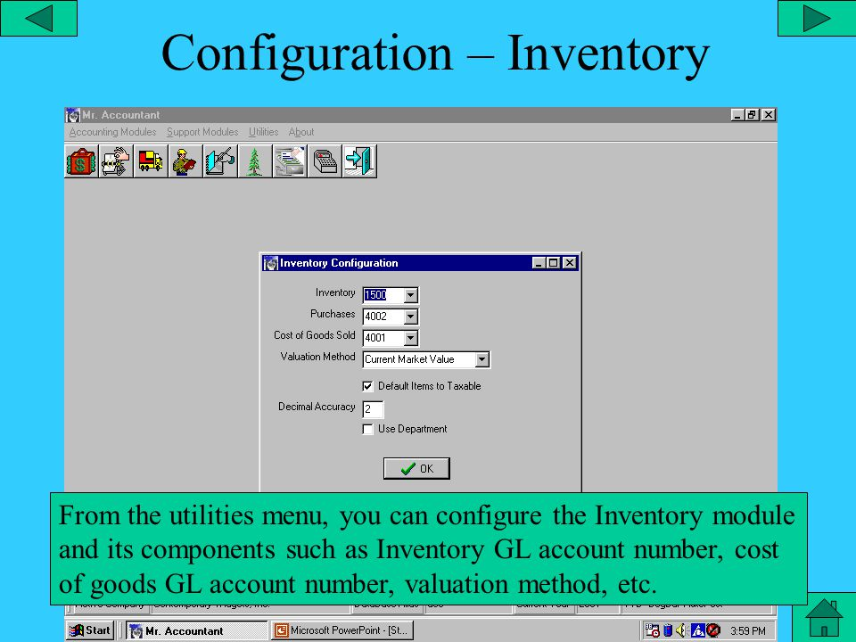 Configuration – Purchase Order From the utilities menu, you can configure Purchase Orders and its components such as print company heading, show tax rates, purchase order font and styles, etc.