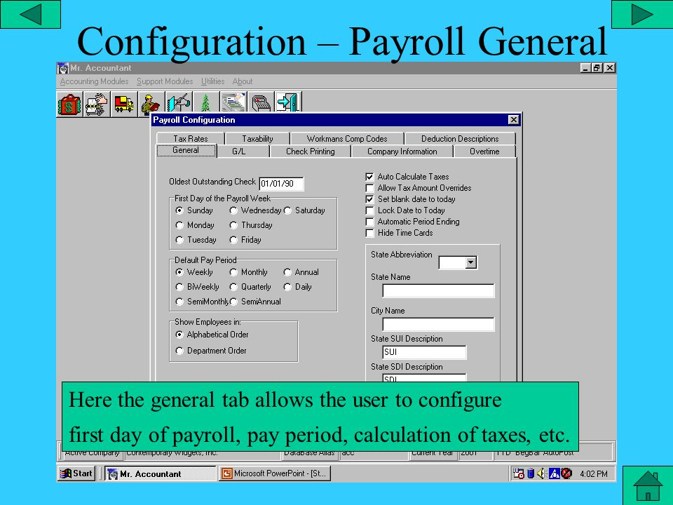 Configuration – Inventory From the utilities menu, you can configure the Inventory module and its components such as Inventory GL account number, cost of goods GL account number, valuation method, etc.