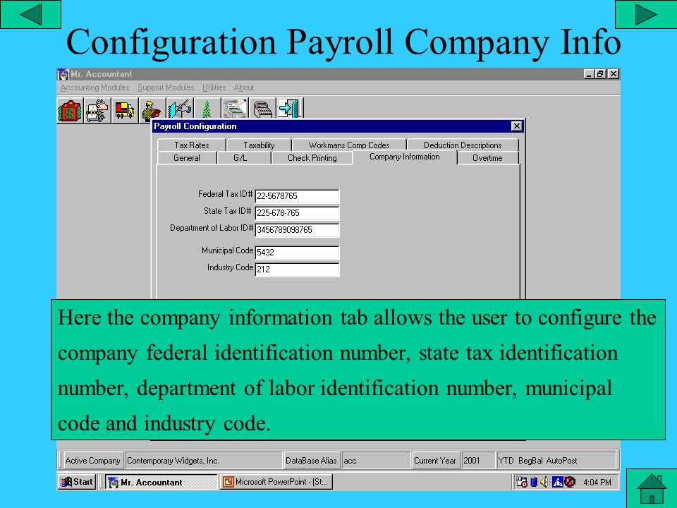 Configuration – Payroll Checks Here the check printing tab allows the user to configure the check printer, check stubs on, laser checks, next check number, etc.