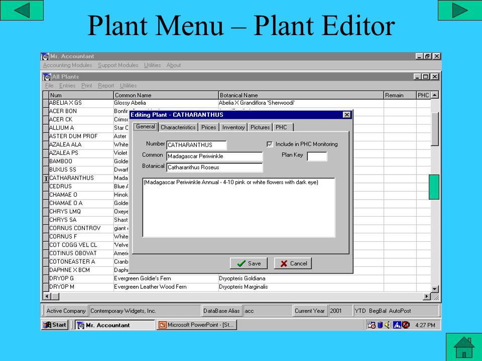 Plant Menu