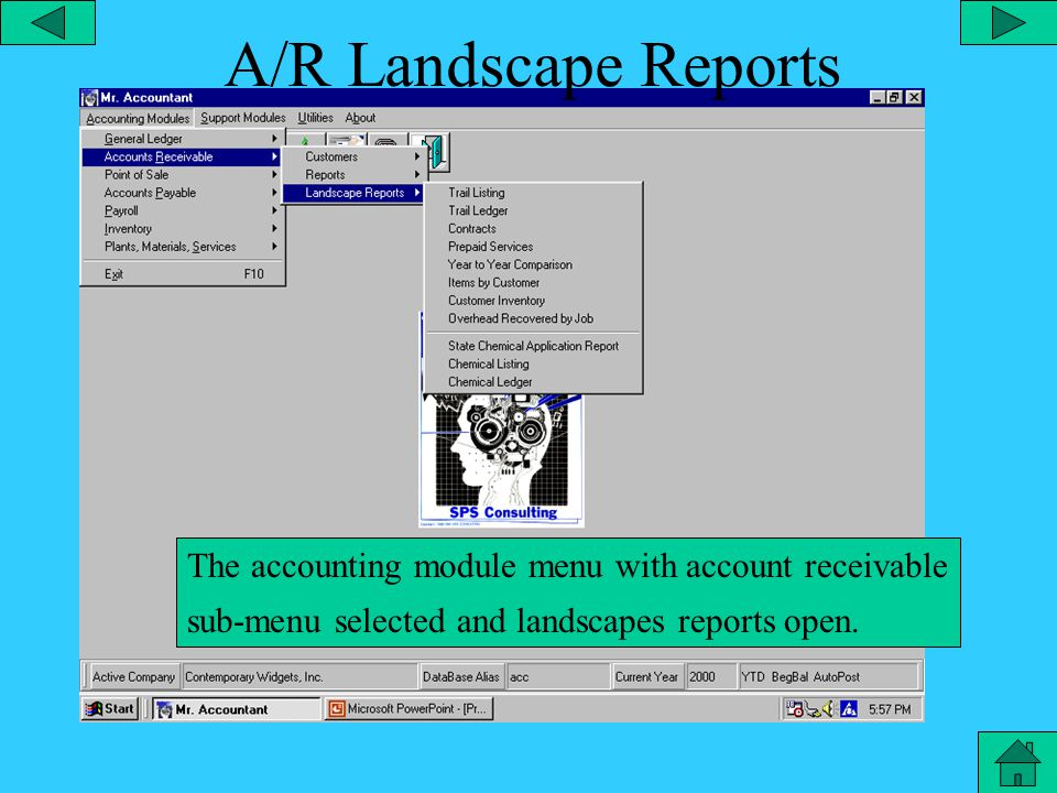 Accounts Receivable - Reports The accounting module menu with account receivable sub-menu selected and reports open.