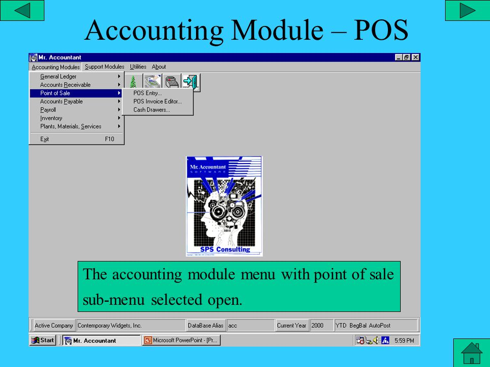 A/R Landscape Reports The accounting module menu with account receivable sub-menu selected and landscapes reports open.